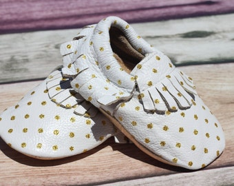 White and Gold Polka Dot Leather Baby and Toddler Moccasin