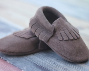 Grey Suede Baby and Toddler Moccasin