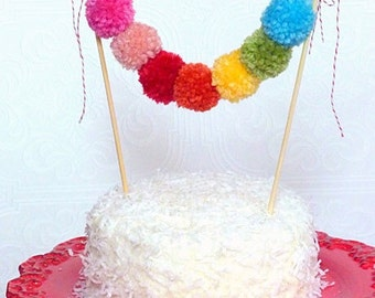 Wedding / Birthday cake topper pom pom garland bunting
