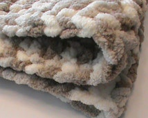 "48"" x 36"" Soft crocheted chenille blanket, beige blanket, crocheted blanket"