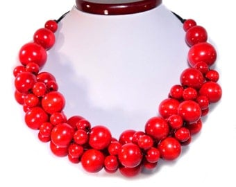 RED necklace wooden beads