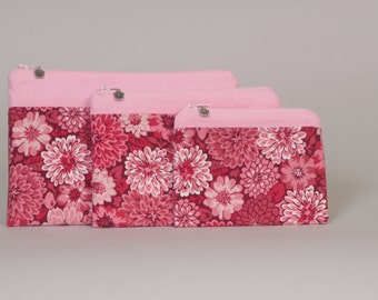 3-piece zipper pouch set: Pink floral band