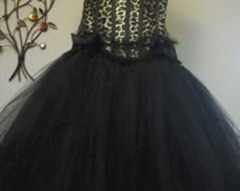 Handmade Black Tulle Burlesque gothic Dress