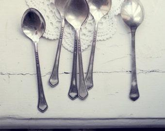 Vintage soviet cutlery - set of six melchior dinner spoons