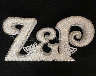 Unique Freestanding Initials Plaque with sparkly gems and pearls