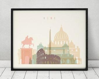 Rome art, print, Poster, Wall art, Italy cityscape, Rome skyline, City poster, Typography art, Gift, Home Decor, gift, ArtPrintsVicky