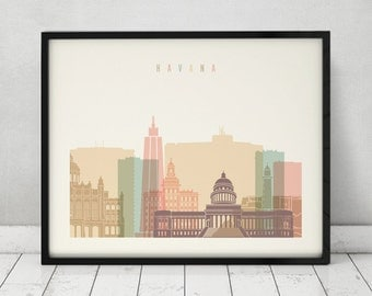 Havana print, Poster, Wall art, Cuba cityscape, Havana skyline, City poster, Typography art, Home Decor, Digital Print, ART PRINTS VICKY.