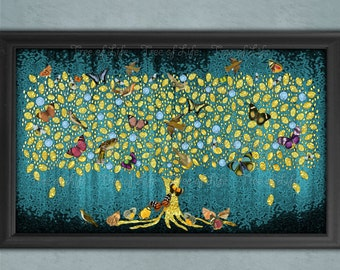 Teal Tree of Life Giclee Print Wall Art (WORLDWIDE SENT in TUBE) Gold (Rolled) Modern Canvas.Blue/Green.Birds Butterflies & Bees Extra Large