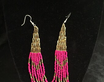 Native Beaded Earrings Fuchsia and Gold