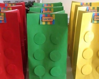 6x Lego Birthday Party Loot Favour Paper Gift Bags - Set of 6