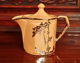 Rare 1920s Fraunfelter Creamer with Lid, Lt. Dusty Orange w/Silver-Gold Gilt