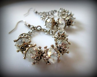 Crystal dangle earrings with vintage flair