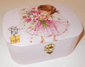 Pink Jewellery Box, Trinket Box, Flower Girl & Mouse decoupage, Storage Box, Shabby Chic, memory Box, Girl Gift,