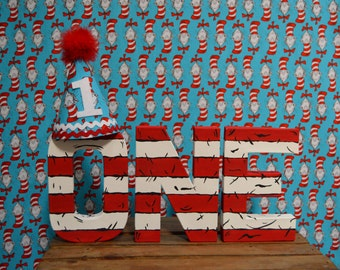 Dr Seuss The Cat In The Hat Letters Birthday Decor Photoshoot Prop Baby Shower Bedroom