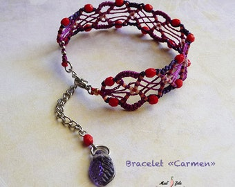 "BRACELET adjustable ""Carmen"" micro-macrame purple-red-purple"