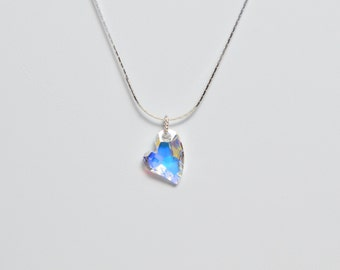 "Crystal Devoted 2U Heart Swarovski Necklace With Sterling Silver 16"" Chain"