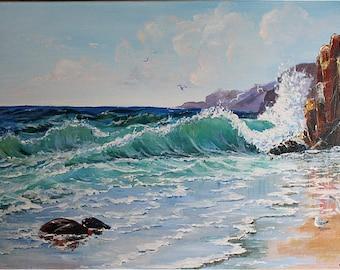 Acrylic Painting,Canvas,Original Fine Art,40 x 60 cm,FREE SHIPPING,Marina Beikmane,Wall Hanging,Beikmane Art,Seascape painting,Waves,Seagull