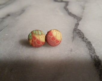 Earrings covered with colorful fabrics