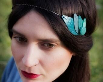 Headband leaf green leather