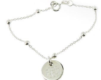 Monogrammed .925 Sterling Silver Link and Bead Bracelet Baby Teen and Adult Sizes Availbale