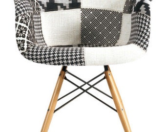 Wood Dowel Base Eiffel Arm Chair Black and White Patchwork Upholstered