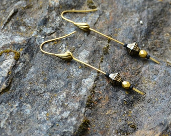 Art Deco Black and Gold Earrings