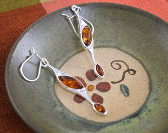 Unique Modern Amber and Sterling Silver Earrings