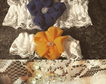 Stretch lace garter with chiffon flowers accented by hand beading