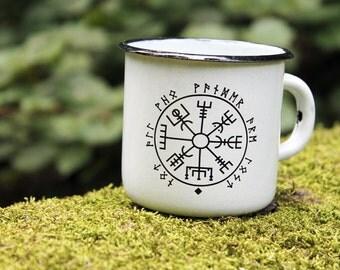 White Enamel Mug Cup * Viking Compass Print Design *  Enamel Cup Mug *  Camping Mug * Travel Mug * Icelandic Compass symbol viking Vegvisir