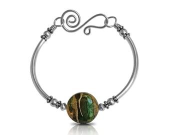 Boho Bangle Bracelet, Layering Bracelet, Beaded Bracelet Bangle, Bracelets for Women, Gift for Her, New Girlfriend Gift Bracelet Green