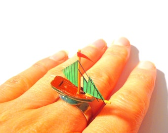 Ring --ON BOARD -- Miniature ship ring, green and silver colored ring by The Sausage