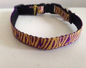 LSU purple and gold tiger stripes Cat Collar