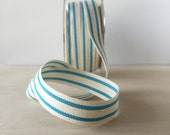 "French Stripe Cotton Ribbon Sky Blue Stripe  5/8"" Natural Cotton Twill Tape 5 Yards of Cotton Ribbon"