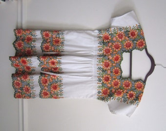 Mexican Summer Sunflower Dress Cotton Small side ties