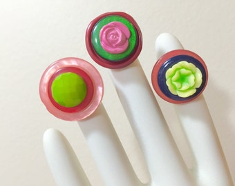 Button Ring Set, Flower Statement Ring, Pink Green Red Adjustable Ring Set, Rings for Girls, Sewing Buttons Rings, Button Jewelry