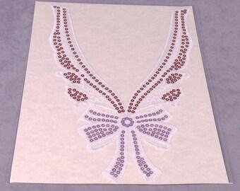 White Sequin Lace Applique (FASR25)