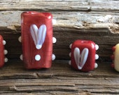 Lampwork Red Heart Beads