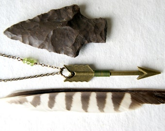 Peridot and Arrow Necklace - Arrow Necklace - peridot wire wrapped arrow necklace - Sagittarius - birthstone jewelry - August birthstone