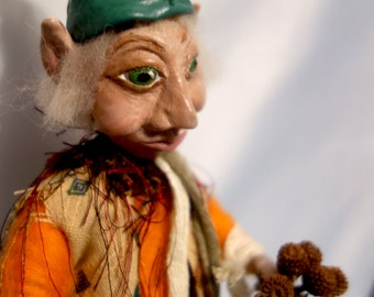 """BENJAMIN- 12"""" (30 cm) Tall, One Of A Kind - Elf, Gnome, Clay, Sculpture, Home Decor, Art Doll, Michelle Munzone, Gift Idea, signed by artist"""