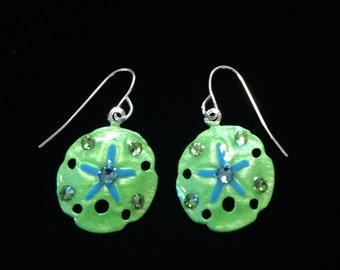 Tropical Sanddollar Earrings Handpainted in Green and Aqua