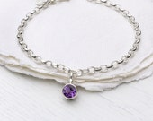 February Birthstone Bracelet - Fair Trade 6mm Amethyst Gem - Sterling Silver - Handmade