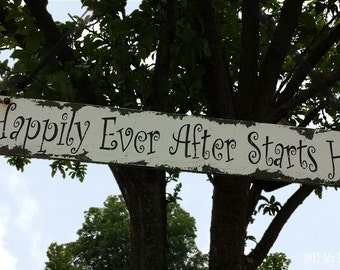 Happily Ever After Starts Here. Wedding Aisle Decoration. Happily Ever After Sign. Aisle Signs. Wedding Ceremony Sign. Fairytale Wedding.