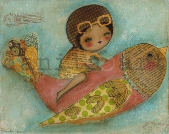 I Dream Of Flying - Giclee Reproduction Of Original Collage Painting By Danita Art (Paper Prints and ACEO Wood Mounted)