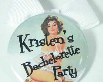 10 Pinup Girls BOTTLE OPENER Pin Back Buttons with Bows - Bachelorette Party Favor, Hen Party Favor,  Bridal Shower Favor
