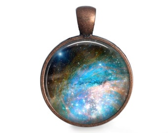 Bright Blue Nebula - Space Pendant Necklace or Key Chain - Choice of 4 Bezel Colors