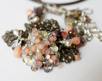 Maldive Majestic Starfish Boro Lampwork Coral Smokey Quartz STerling Silver Gemstone cluster Necklace