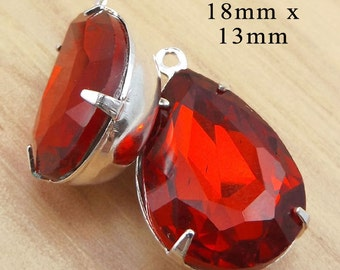 Red Glass Beads, Pear or Teardrop, Silver Plated Brass Settings, One or Two Rings, 18mm x 13mm, Rhinestone Jewels, Earring Drops, One Pair