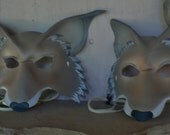 Mr and Mrs Coyote masks, leather masks for two, couple theme costume mask