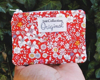 Red Small Floral Wallet, June's Meadow Change Purse Liberty of London Fabric, Red Wallet, Coin Wallet, Change Wallet, Fabric Wallet