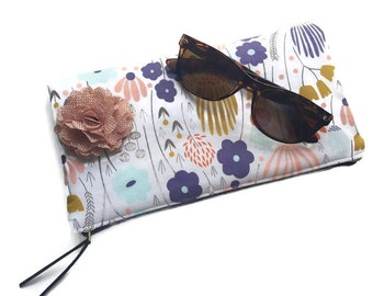 Foldover Ivory Meadow Leather Clutch Bag, Clutch Handbag, Leather Clutch Pouch, Floral Clutch Purse, Zipper Pouch, Pink Evening Bag
